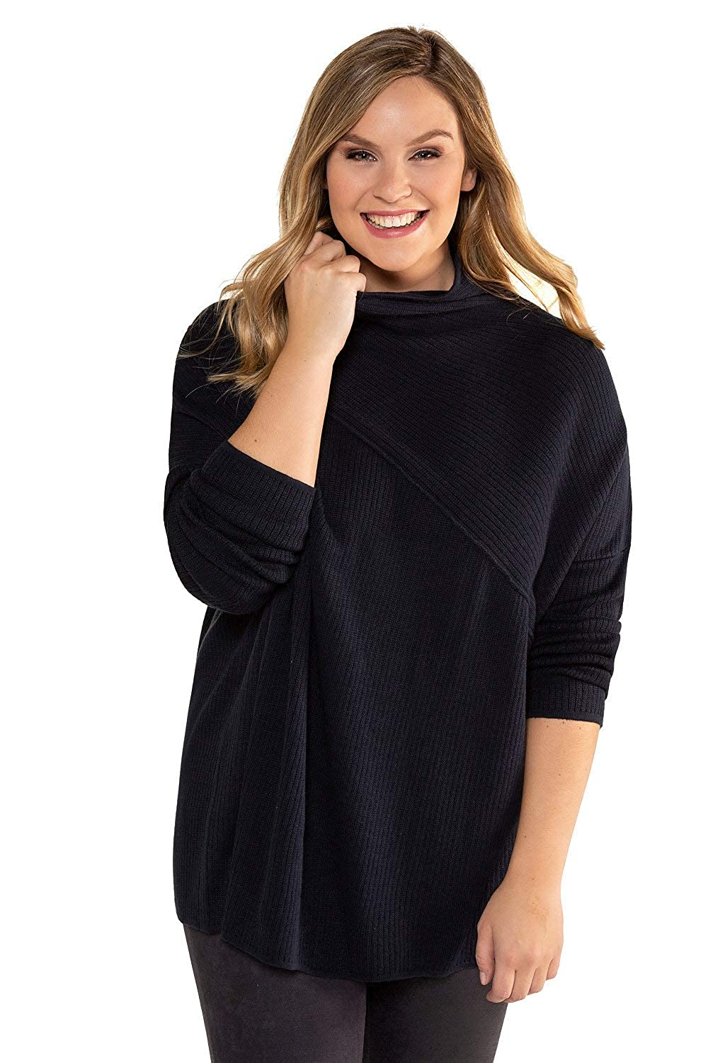 Ample Grandes Col Et Rond Popken Tailles Long Femme Pull Ulla xoWBCQred