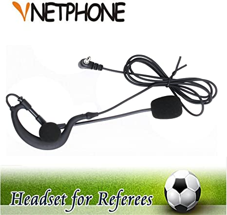 Vnetphone® Oreillette pour arbitre de football avec écouteur de 3,5 mm et crochet pour casque mono oreillette Fonctionne avec les interphones