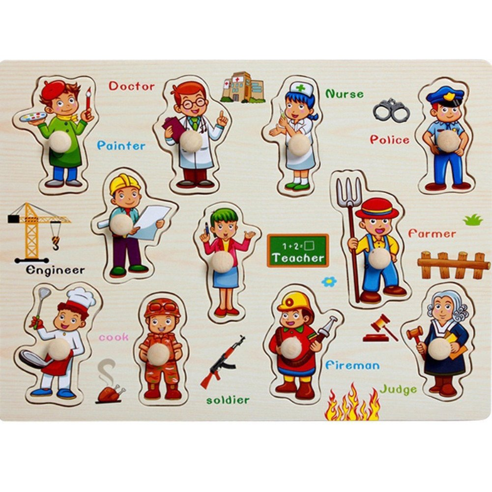 Yosemite Wooden Peg Puzzles Learning Educational Game Toy for Kids