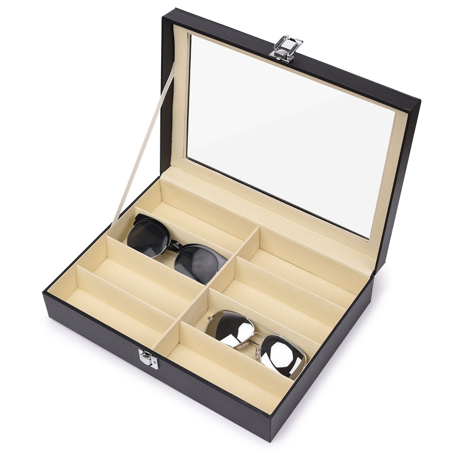 Juns Sunglasses Eyeglass Organizer, 8 Slots PU Leather Eyewear Storage Box Jewelry Display Case Watch Box with Glass Lid