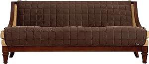 SureFit SF42372 Comfort Armless Sofa, Microban Antimicrobial Pet Furniture Cover, Chocolate