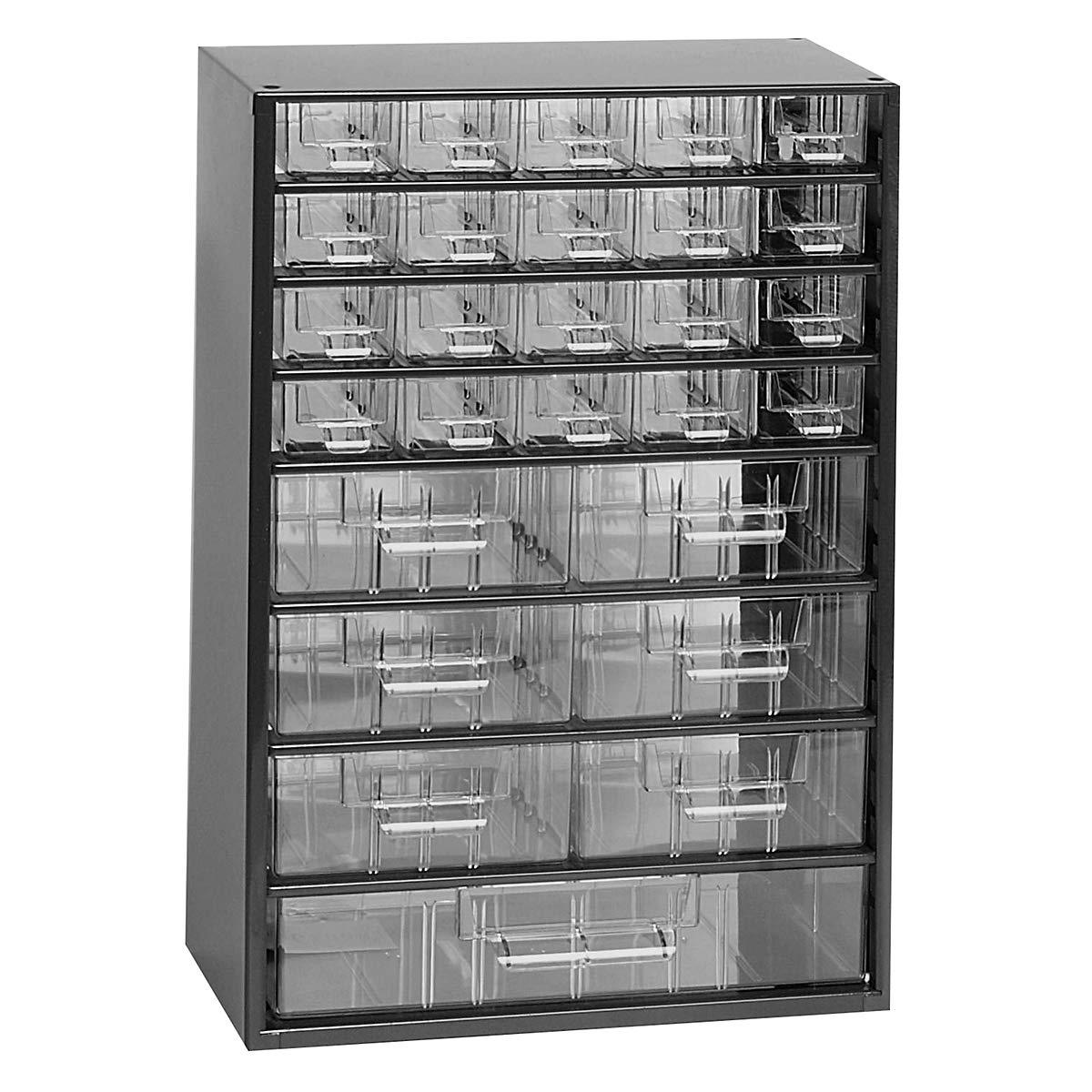 Schubladenmagazin - HxB 460 x 306 mm, 27 Schubladen - tiefschwarz - Klarsichtmagazin Kleinteilemagazin Lagersystem Magazin Schubladenmagazin Certeo