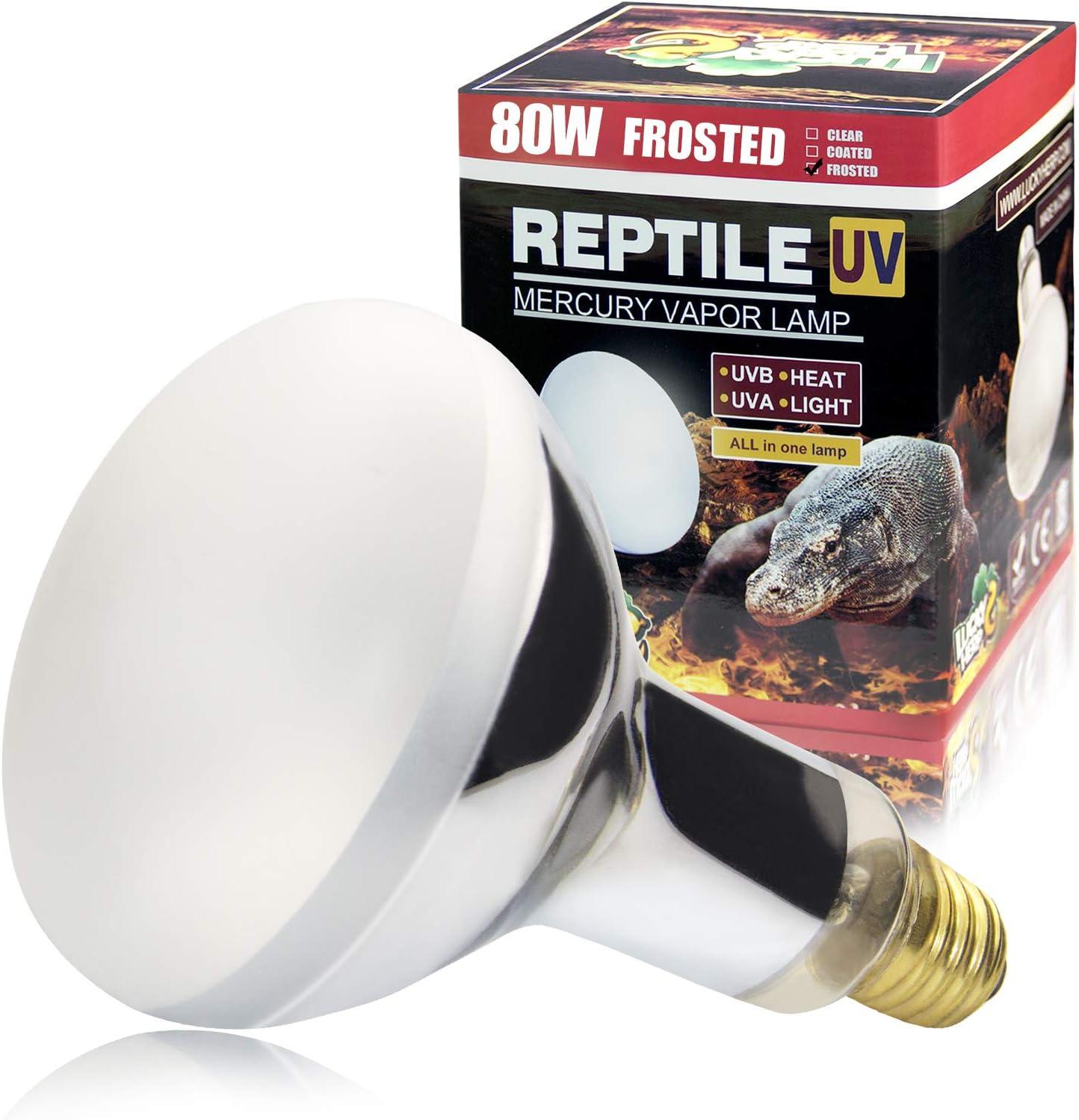 LUCKY HERP UVA+UVB Mercury Vapor Bulb High Intensity Self-Ballasted Heat Basking Lamp/Bulb/Light for Reptile and Amphibian
