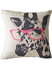 """Ambox Beige Cotton Blend Linen Square Decorative Throw Pillow Covers - Indoors or Outdoors Cushion Cases, 18"""" x 18"""", Beige/White/Black (Cartoon Animal Style Giraffe Pink Glasses)"""