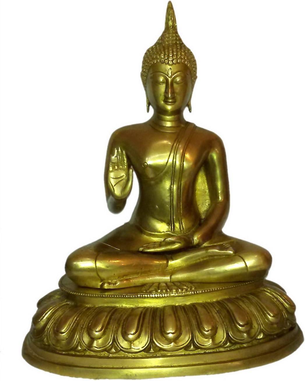 Brass Metal Gautama Buddha Medium Statue Sitting by Bharat Haat BH01367