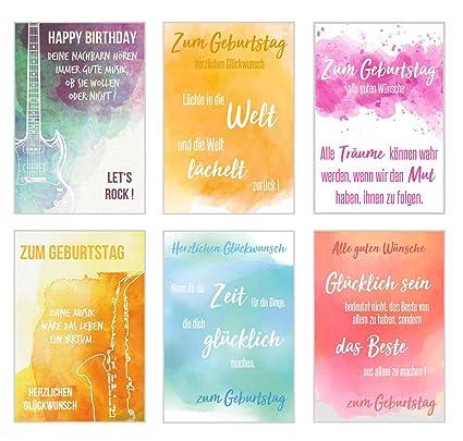 Set 6 Humorvolle Biglietti Di Compleanno Con Scritte