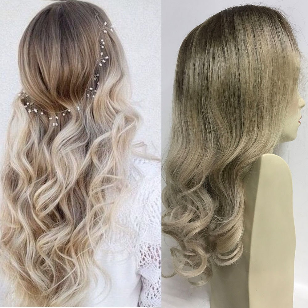 Full Shine 18 inch Real Hair Wig Ombre Human Hair Wig for Women Color #4 Dark Brown Fading to #18 Ash Remy Ombre Two Tone Real Lace Frontal Wig Gluess With Combs and Adjustment Bangs