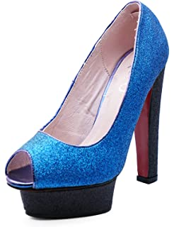 c512216c21ec HeelzSoHigh Ladies Slip-On Blue Glitter Peeptoe Platform Exotic Party Evening  Shoes Sizes 2-