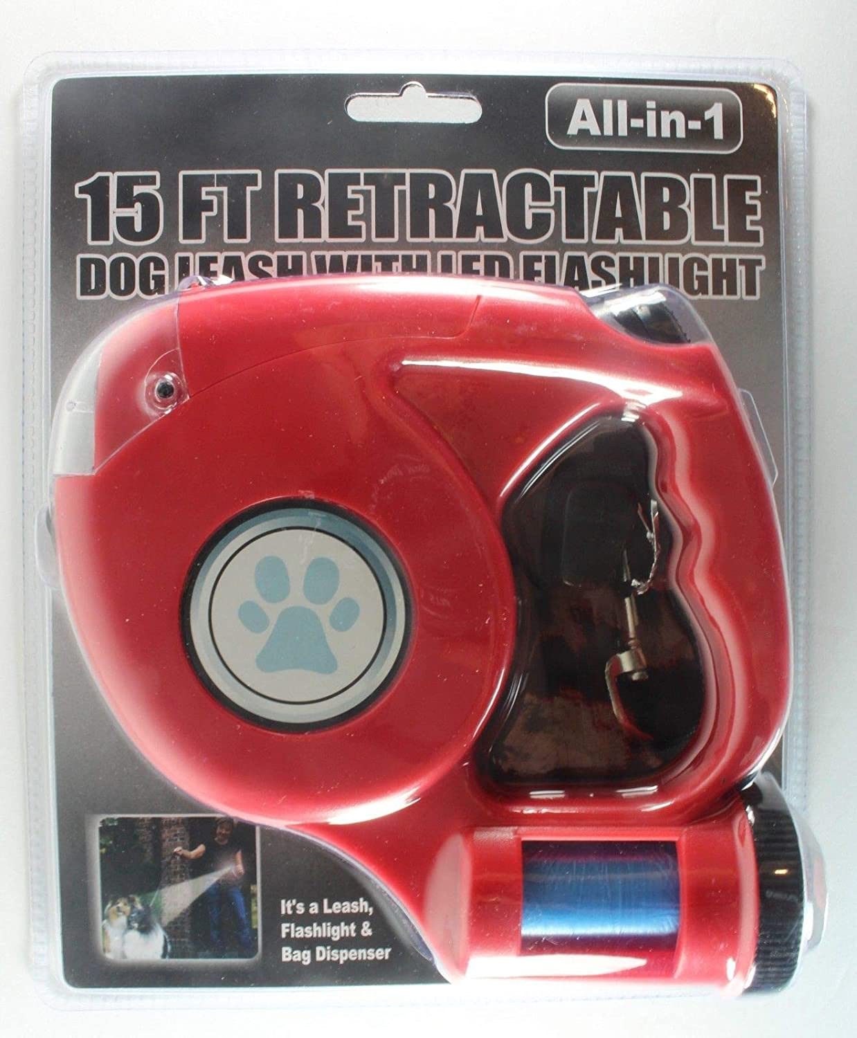 All In 1 Dog Leash 15 Feet Retractable W Led Flashlight Wire Harness And Bag Dispenser Red Pet Supplies