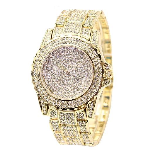 Espeedy Relojes de las mujeres de moda incrustaciones de diamantes de imitación reloj de pulsera correa de acero reloj de pulsera movimiento electrónico ...