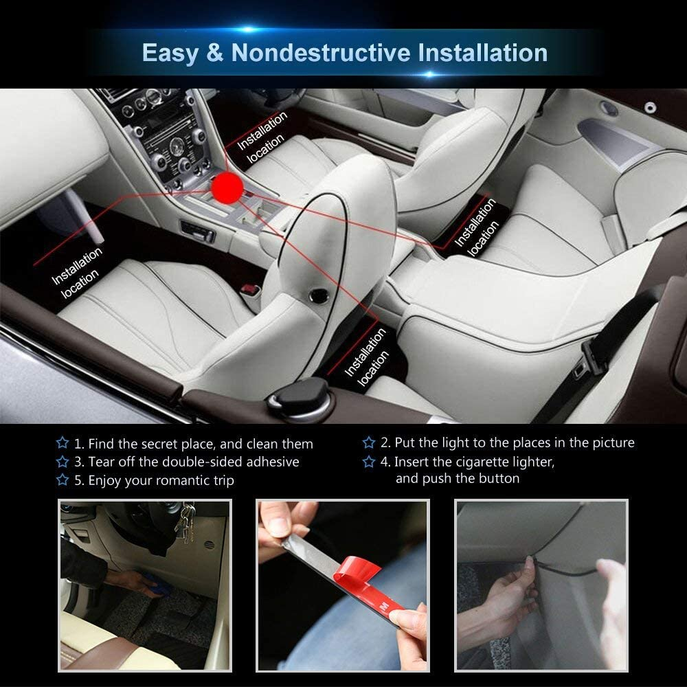 DC 12V Car Charger Included Car LED Strip Light,4pcs 48 LED Multicolor Music Car Interior Lights Under Dash Lighting Kit with Sound Active Function and Wireless Remote Control 02