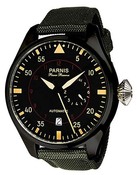 Parnis - Reloj de Pulsera para Hombre, 47 mm, Esfera Negra, Acero Inoxidable, con Revestimiento de PVD, Movimiento automático, Color Negro: Amazon.es: ...