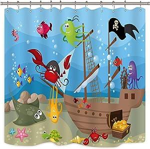Riyidecor Pirate Ship Shower Curtain Boys Underwater Ocean Fish Kids Sea Marine Animal Decor Fabric Bathroom 72x72 Inch 12 Pack Plastic Shower Hooks