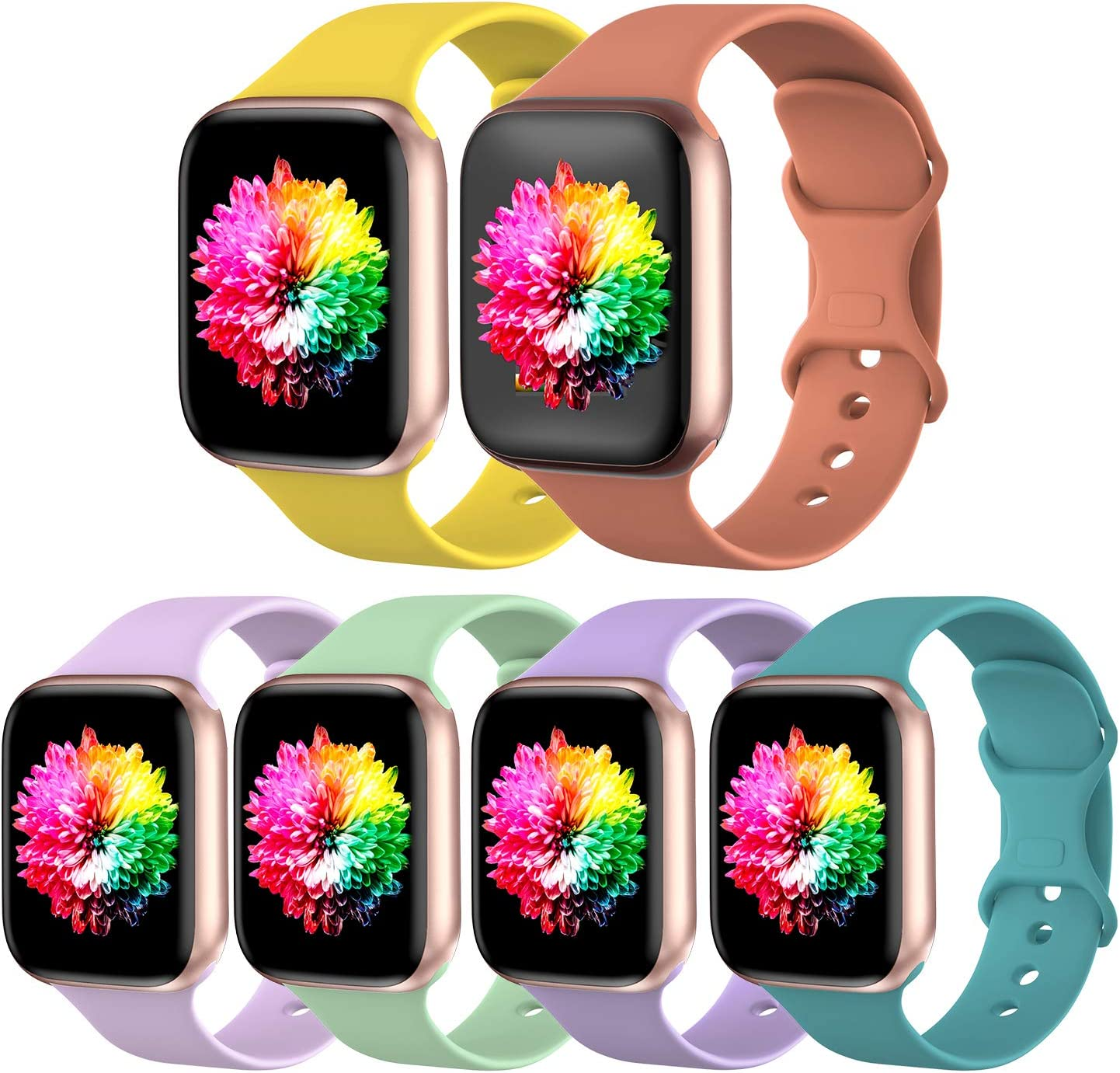 SWHAS 6 Pack Sport Bands Compatible with Apple Watch Band 42mm 44mm 40mm 38mm, Soft Silicone Replacement Strap Compatible with iWatch Series SE/6/5/4/3/2/1,S/M,Pack J