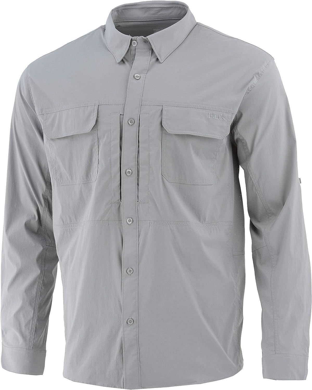 Huk Men's Casual Button-Down Lightweight Fishing Beaufort Long Sleeve Shirt