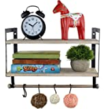 Spiretro Wall Mount 2 Tier Floating Shelves with Metal Bracket, Rustic Torched Wood with Removable Towel Rod and S Hooks…