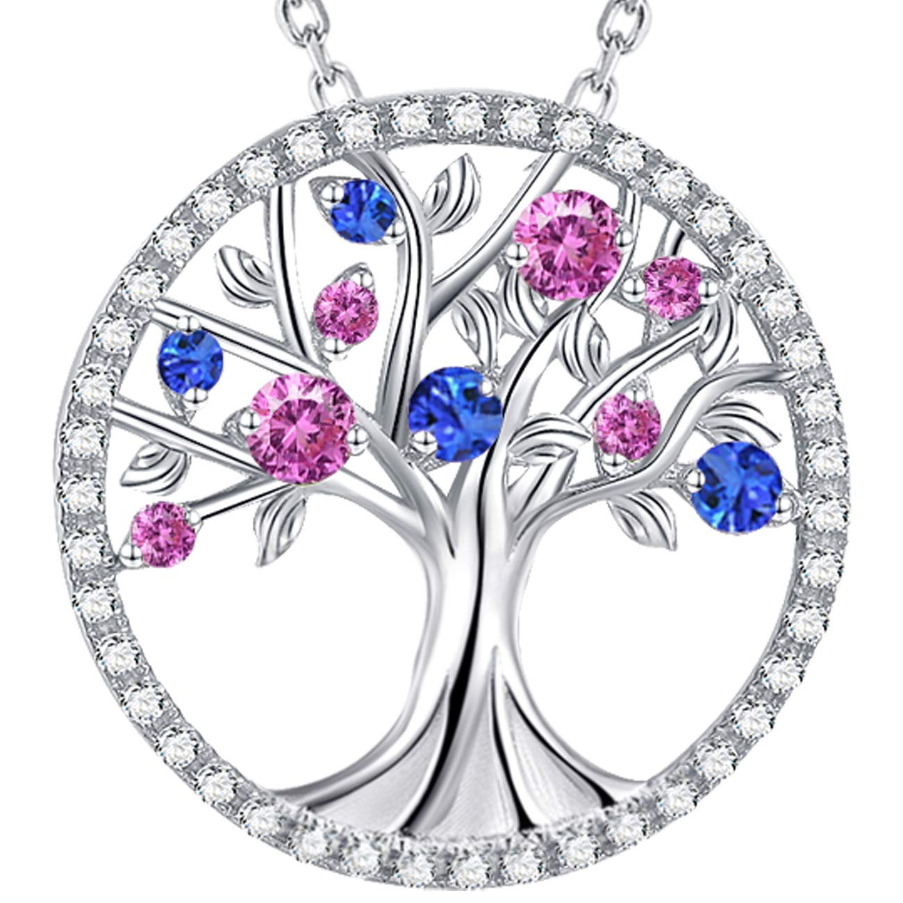 The Tree of Life Jewelry October Birthstone Created Pink Tourmaline Necklace Birthday Gift For Her Sterling Silver Elda&Co P712T-TMSA