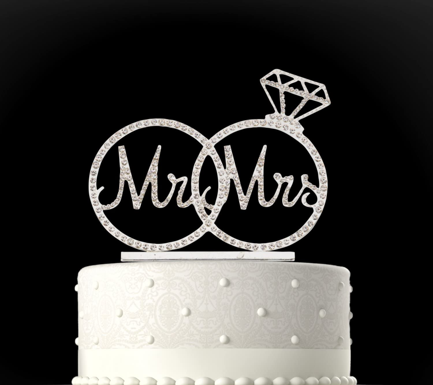 Gold Plated Charming Collections Mr /& Mrs Rhinestone Wedding Cake Topper