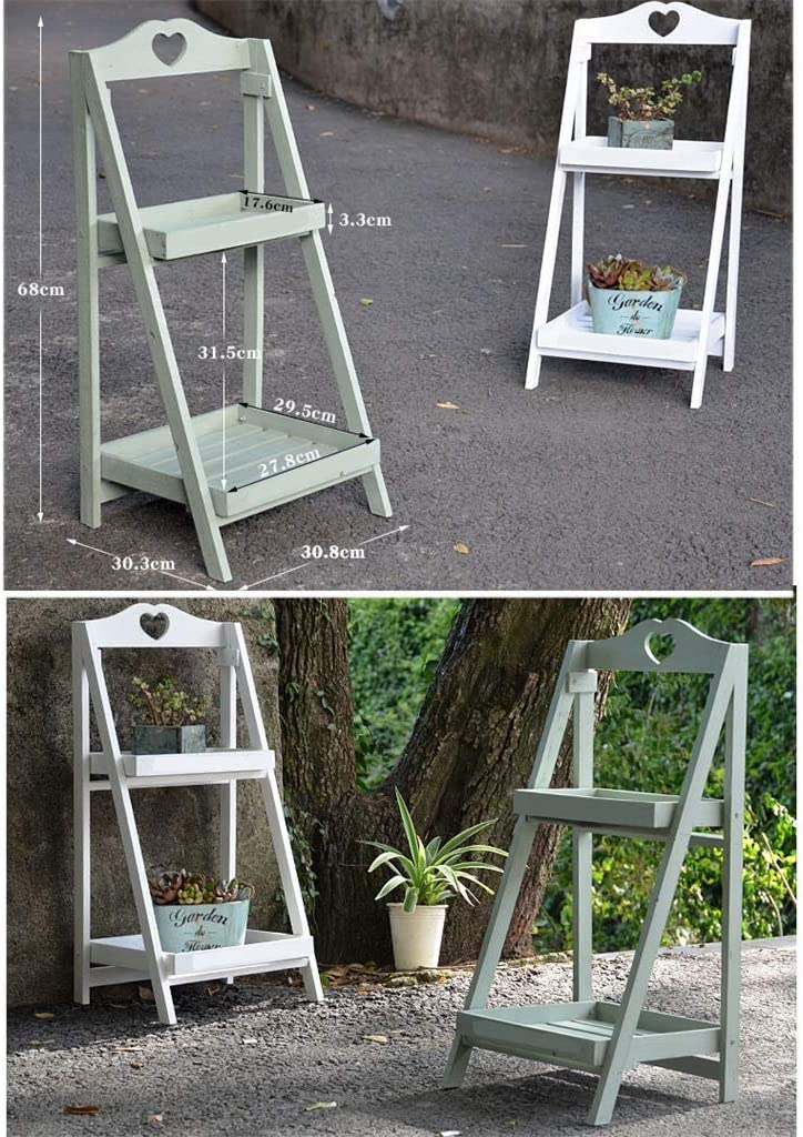 HTL Balcony Storage Rack Wooden Flower Stand 2 Layer Indoor and Outdoor Balcony Multi-Storey Floor-Standing Collapsible Plant Shelf Storage Shelf Potted Plant 30.8X30.3X68Cm