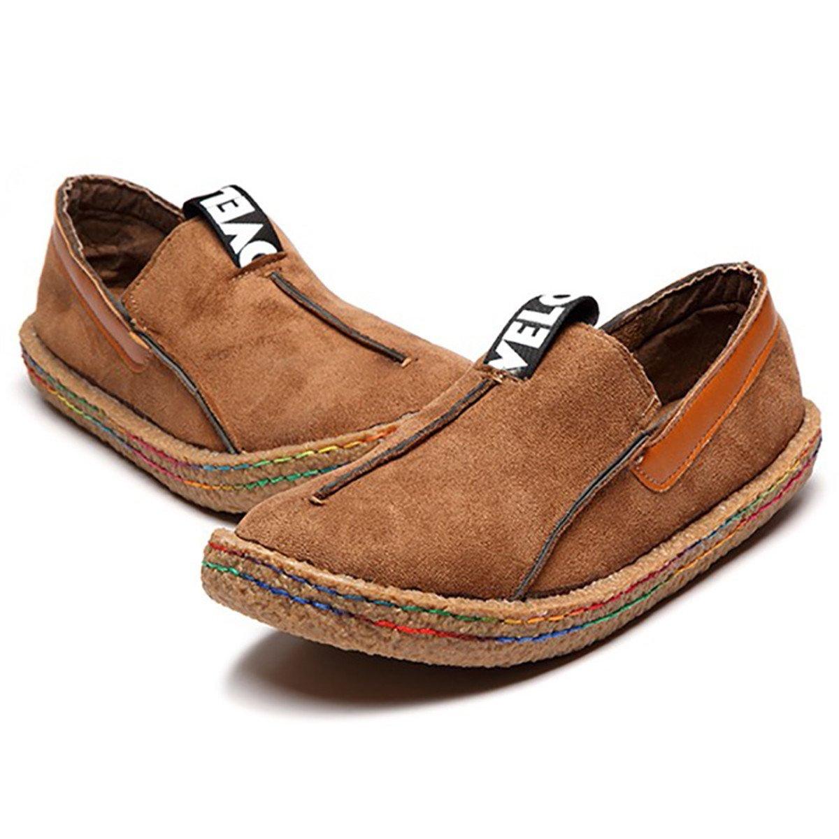 Gracosy Mocassino Pantofole Scarpe da Barca, Camminando Mocassini di Viaggio Casual Flat Confortevole in Pelle Scamosciata Rotonda Testa Slip-On Scarpe Basse DonnaMarrone