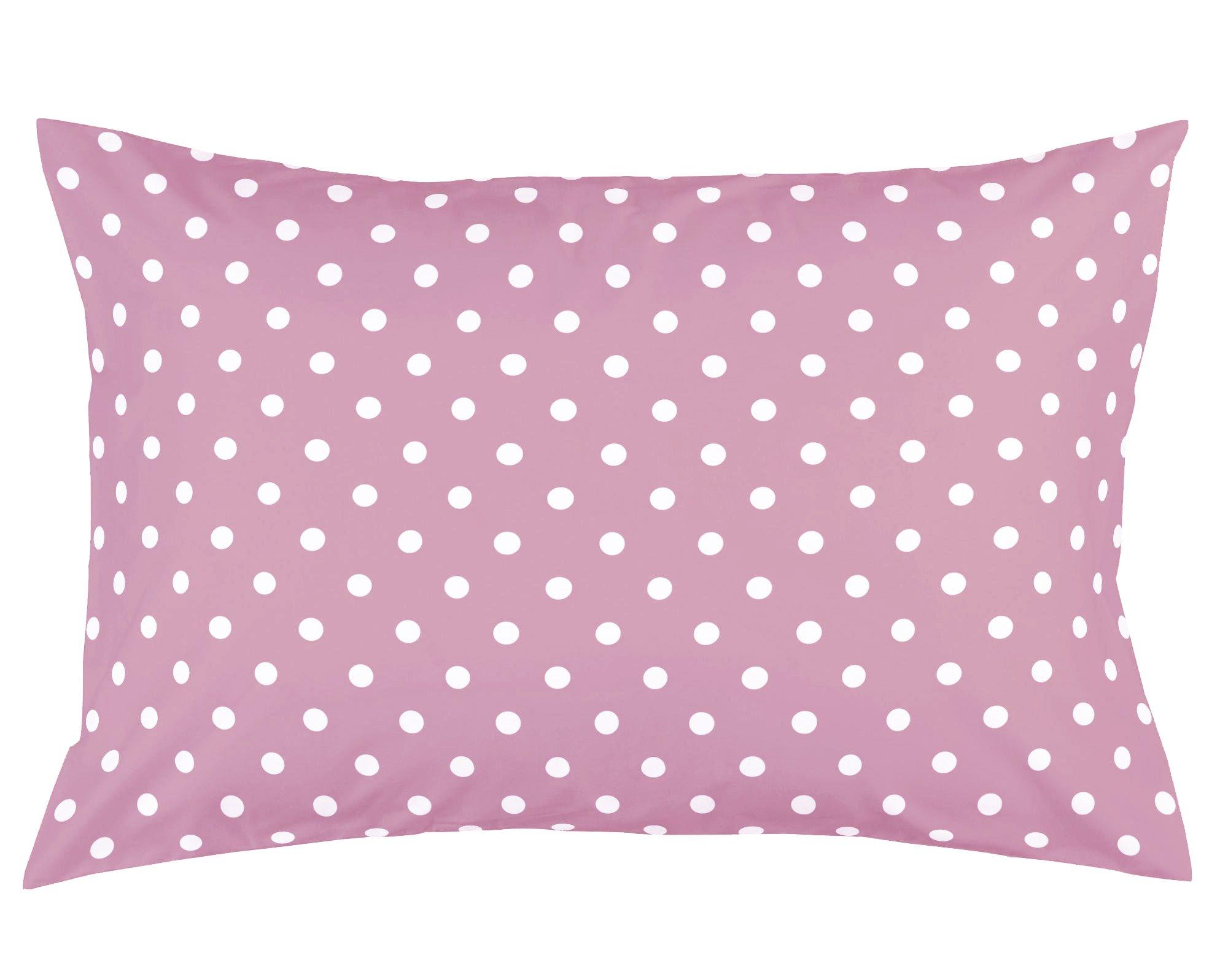 Toddler Pillowcase by Dreamtown Kids. 100% Cotton. Pink Polka DOTS