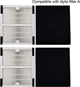 TINGSHAN Replacement Idylis Air Purifier Filter A - 2 Pack Hepa & Carbon Filter Set for Idylis Air Purifiers Idylis IAP-10-100 Idylis IAP-10-150, AC-2119, Model # IAF-H-100A, IAFH100A