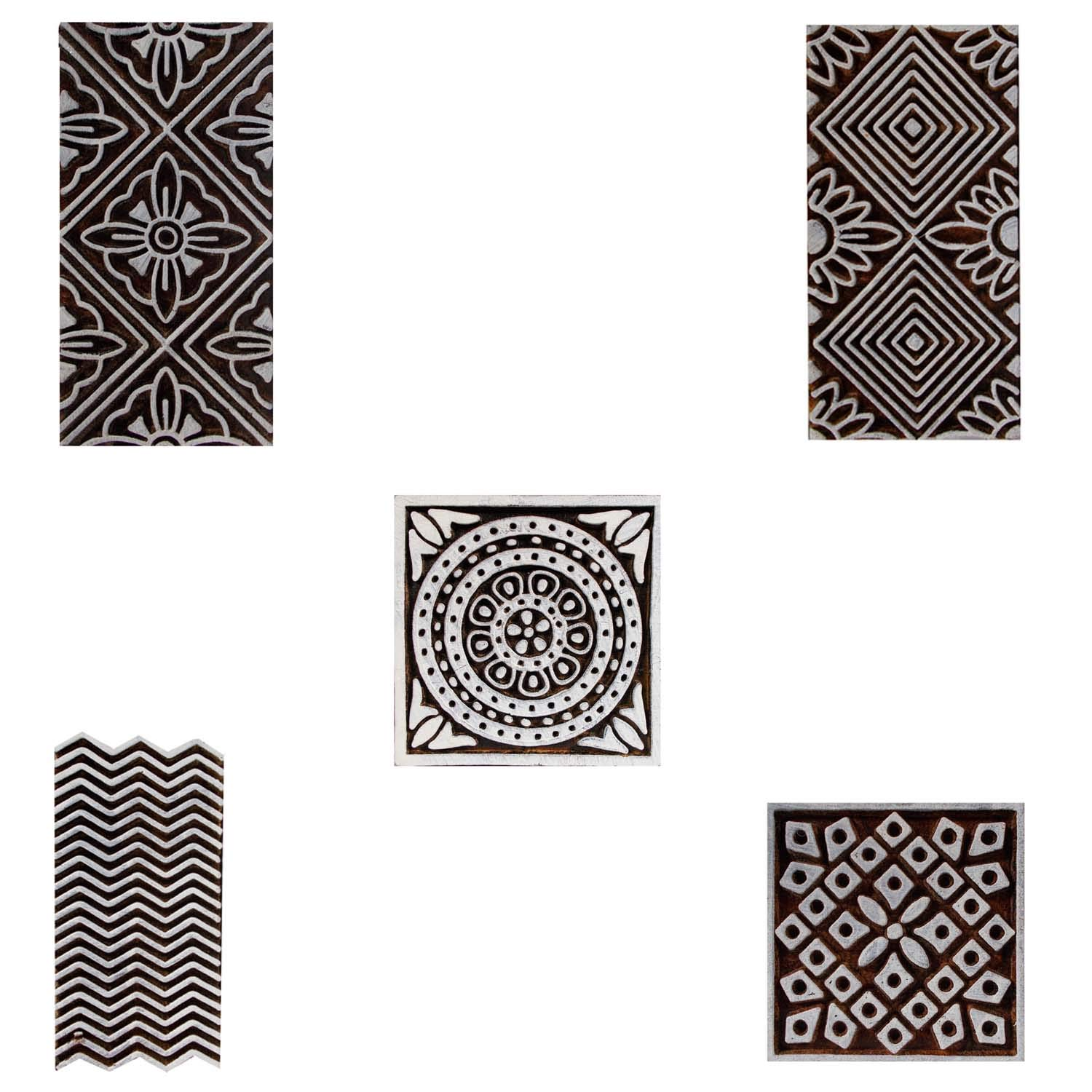 Indian Printing Block Wooden Floral Border and Square Craft Clay Pottery Scrapbook Motif Pack of 5 Textile Stamps Blocks