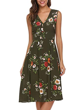 db4163a8b09 ACEVOG Women s Retro Floral V-Neck Sleeveless A-Line Pleated Casual Flare  Party Dress