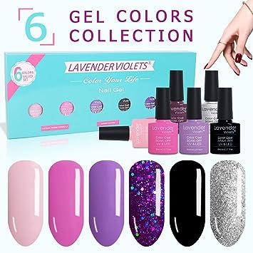 Amazon.com: Gel Nail Polish Kit Set of 6 Color UV LED Soak Off Gel ...