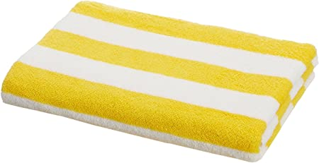 AmazonBasics - Toalla de playa, de rayas Cabana, color amarillo, pack de 1: Amazon.es: Hogar