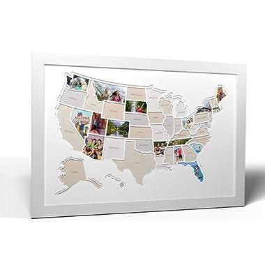 Thunder Bunny Labs 50 States USA Photo Map - Frame Optional - Made in America (White, White Frame)