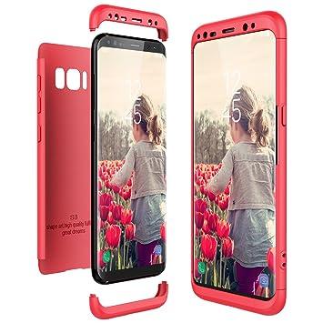 CE-Link Funda Samsung Galaxy S8, Carcasa Fundas para Samsung Galaxy S8, 3 en 1 Desmontable Ultra-Delgado Anti-Arañazos Case Protectora - Rojo/Red