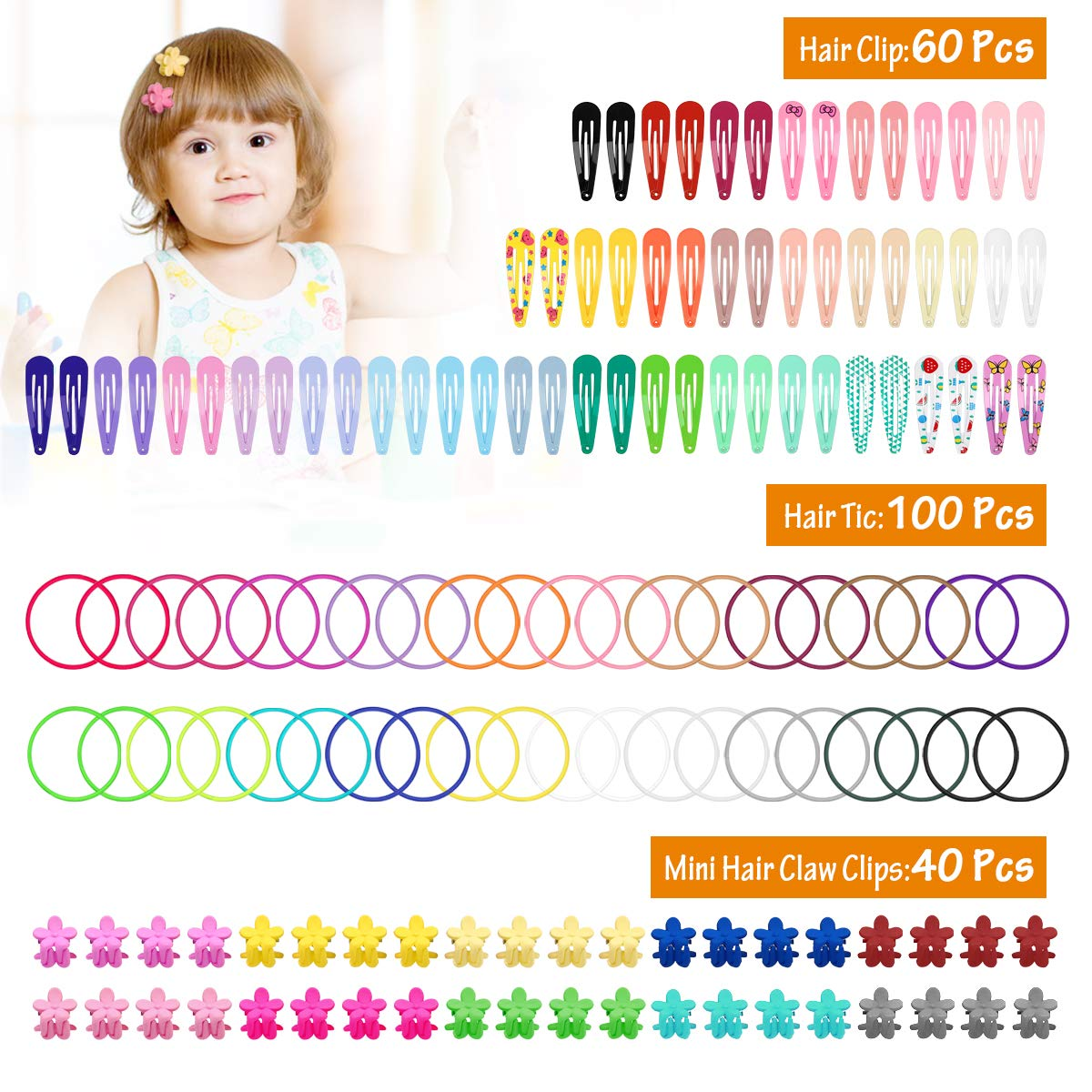 Hotrose 200 Packs Baby Girls Hair Accessories Set - 100Pcs Multicolor No Crease Hair Ties - 60Pcs Candy Color Snap Clips - 40Pcs Mini Flower Claw Clips for Girls and Women