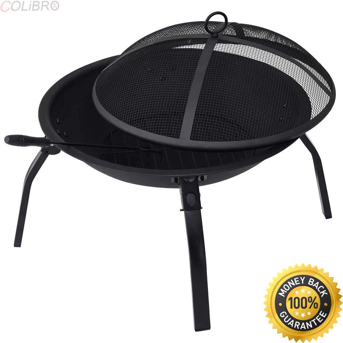 """COLIBROX--Portable 22"""" Folding Fire Pit BBQ 4 Leg Fire bowl Cooking Campfire Patio Outdoor. build fire pit grill. fire pit grill walmart. open fire cooking recipes. cooking fire pit designs."""