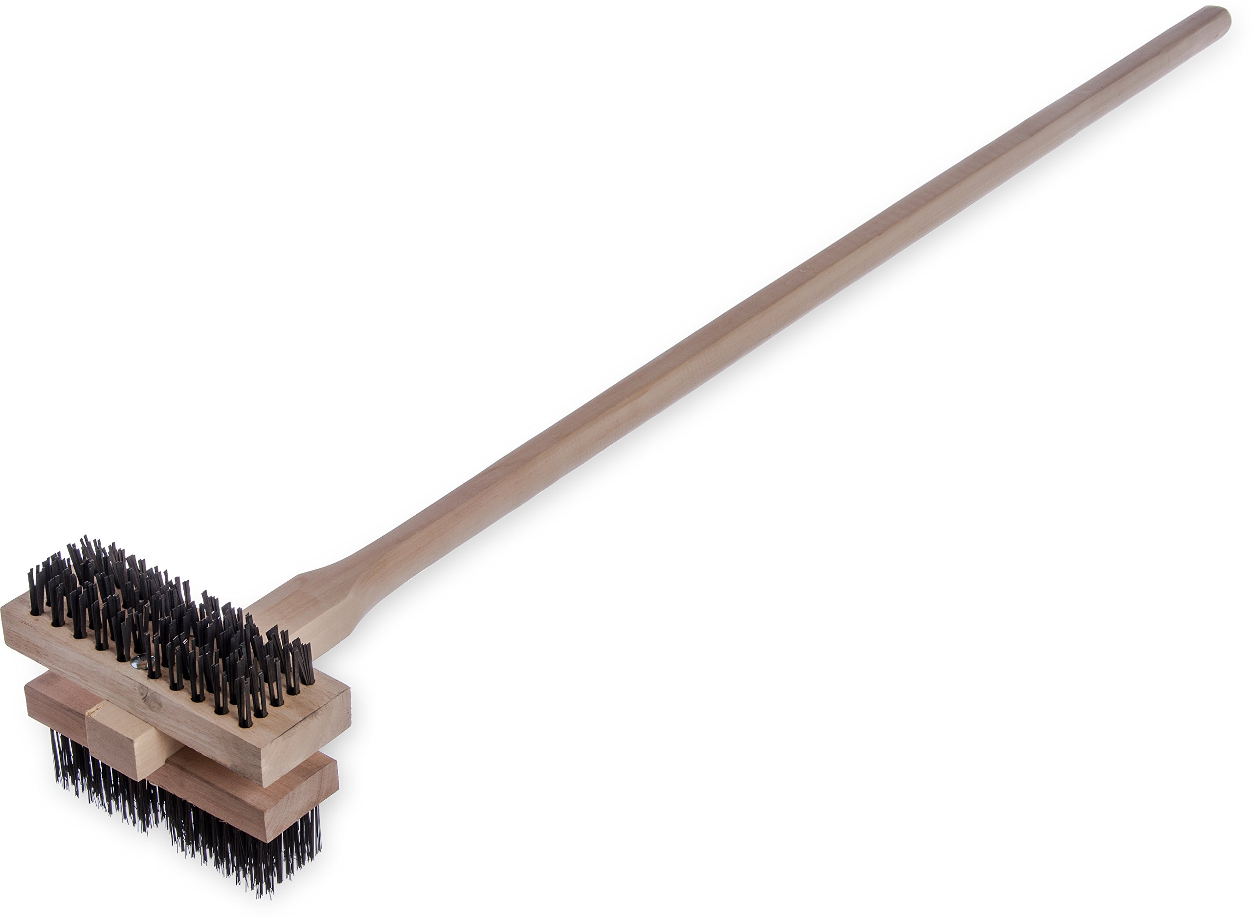 Carlisle 4029400 Carbon Steel Double Broiler King Brush with Hardwood Handle, 7-3/4'' Brush Length, 1-5/8'' Bristle Trim, 48'' Overall Length (Case of 2) by Carlisle