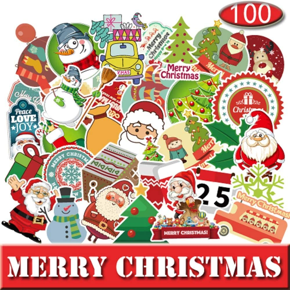 100 Pcs Christmas Stickers Decals Vinyl Car Stickerfor Laptops Cars Water Bottle Luggages Ipad Street Doodle Sticker Set Waterproof Sticker (Christmas)