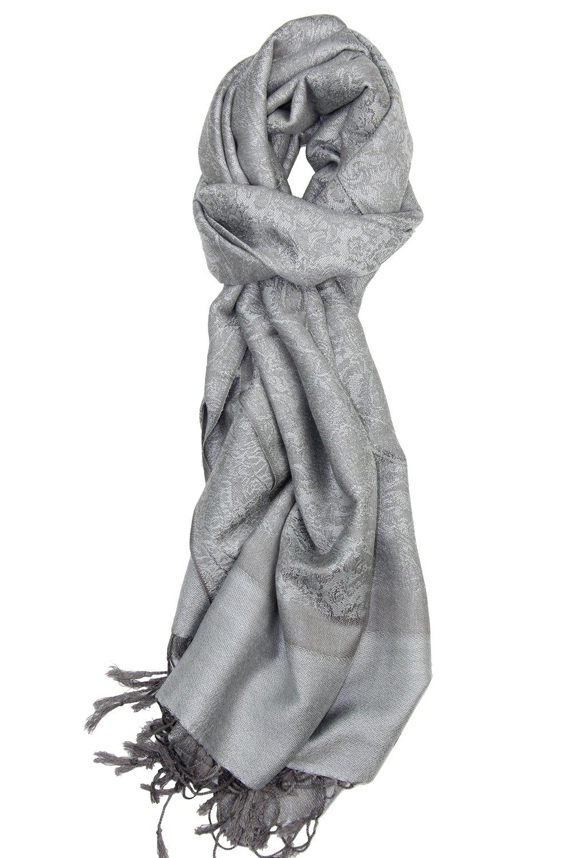 Achillea Two Tone Vintage Jacquard Paisley Pashmina Shawl Wrap Scarf (Silver Grey)