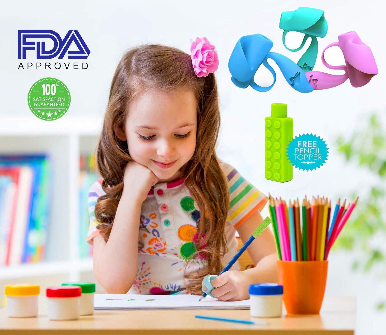 Grip Aide Ecriture Aide /écriture pour Enfant de Crayon Toppers Lot de 7 /Écureuil Guide Doigt Grippies,au design ergonomique pour Crayon