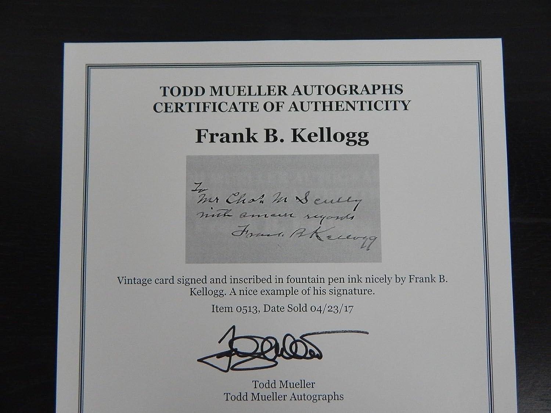 Frank B Kellogg Hand Signed Vintage Card Nobel Peace Prize In 1929