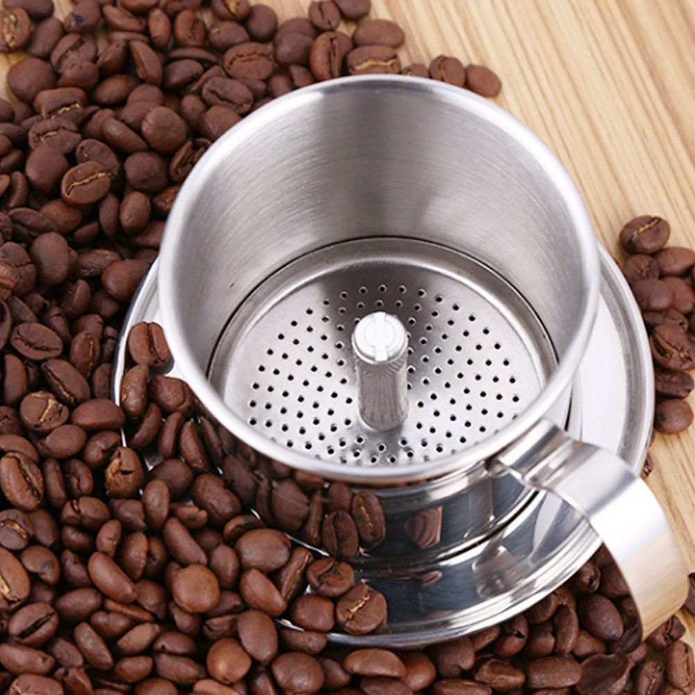 TOOGOO Cafe Percolador Acero inoxidable Cafe vietnamita Filtros de goteo Single Cup Cafe Drip Pot Brewer - Portatil sin papel para el uso al aire libre de ...