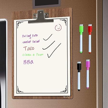 Pizarra magnética para Nevera, con 4 rotuladores, Notas, Listas de ...
