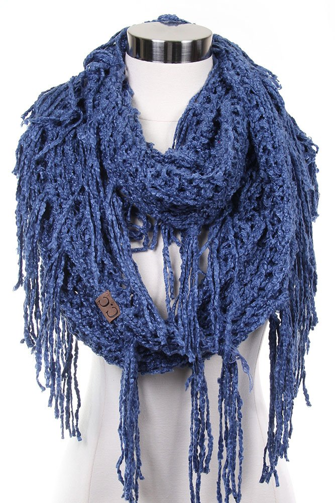 ScarvesMe CC Knitted Double Loop Circle Infinity Scarf with Fringe (Dark Denim)