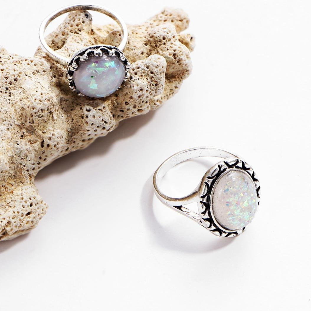 SMALLE◕‿◕ Clearance,8PC Boho Jewelry Silver Natural Gemstone Marquise Moonstone Personalized Ring by SMALLE◕‿◕ (Image #4)