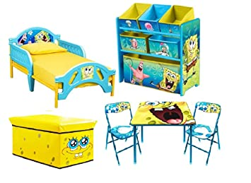 Charmant Spongebob Toddler Bedroom Bundle Set Bed Toy Bin Organizer Table Chairs  Storage Ottoman