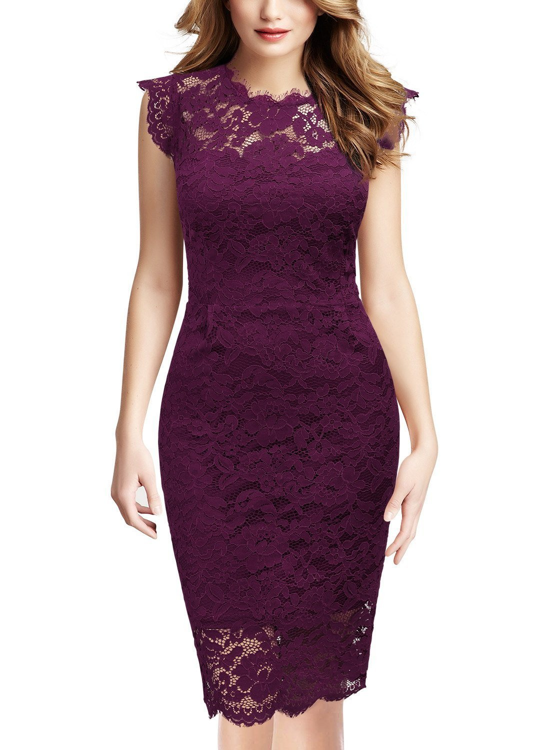 Miusol Women's Retro Floral Lace Slim Evening Cocktail Mini Dress QF3300-
