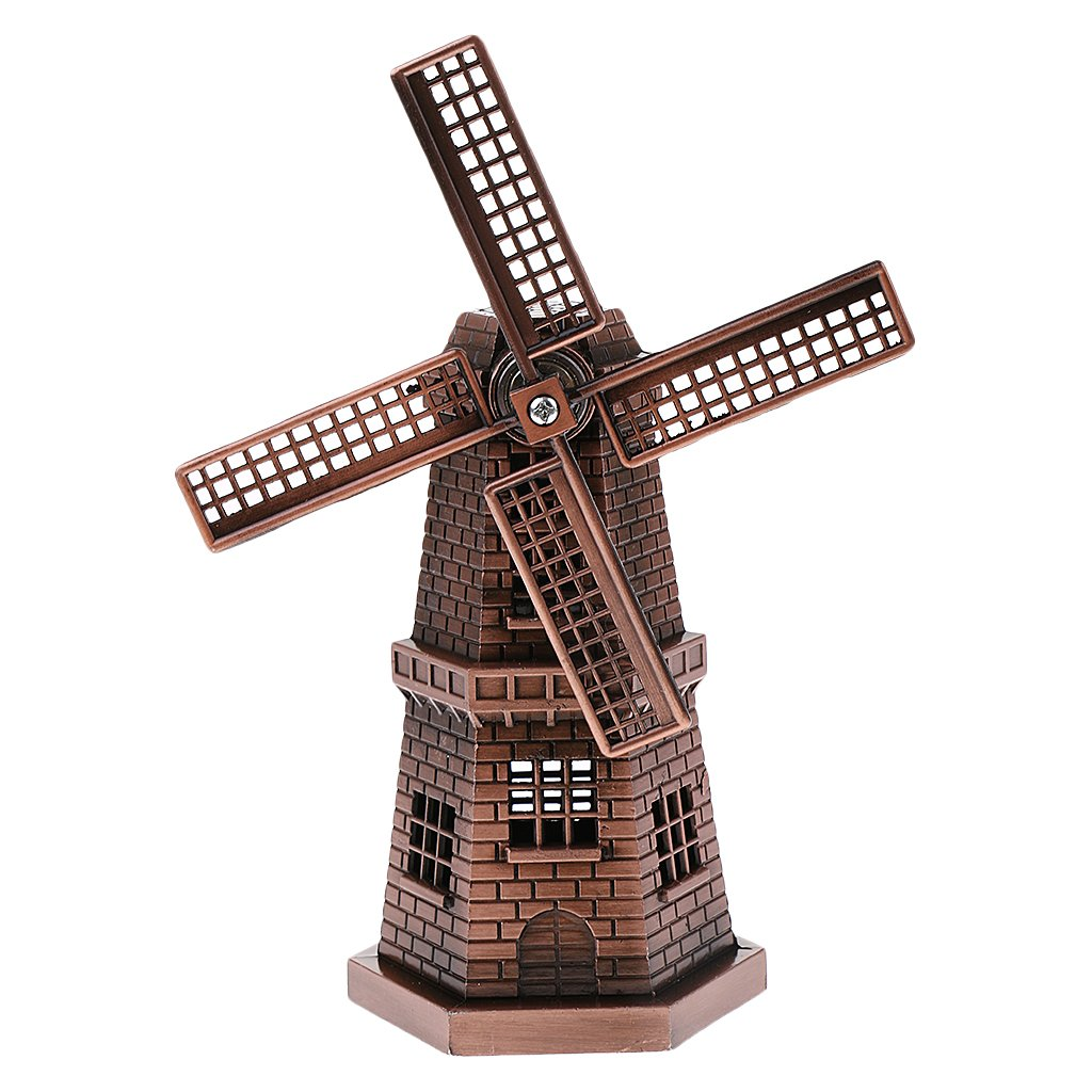 Fityle 7'' Metal Building Model Toy Dutch Windmill Statue Craft for Boys/Adults/Kids