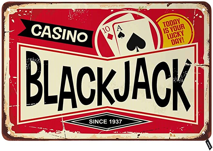 Swono Blackjack Tin Signs,Casino Today is Your Lucky Day Vintage Metal Tin Sign for Men Women,Wall Decor for Bars,Restaurants,Cafes Pubs,12x8 Inch