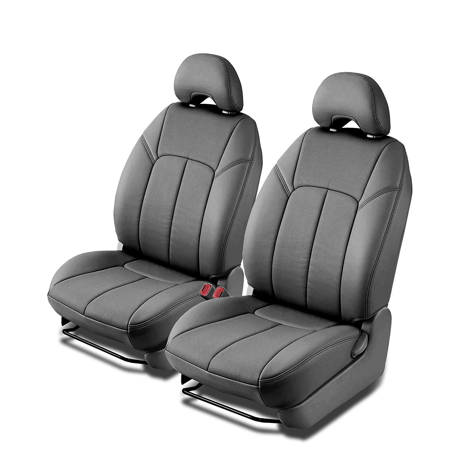 Clazzio 310021gryy Grey Leather Front Row Seat Cover for Honda Civic 4 Door DX-VP LX-S