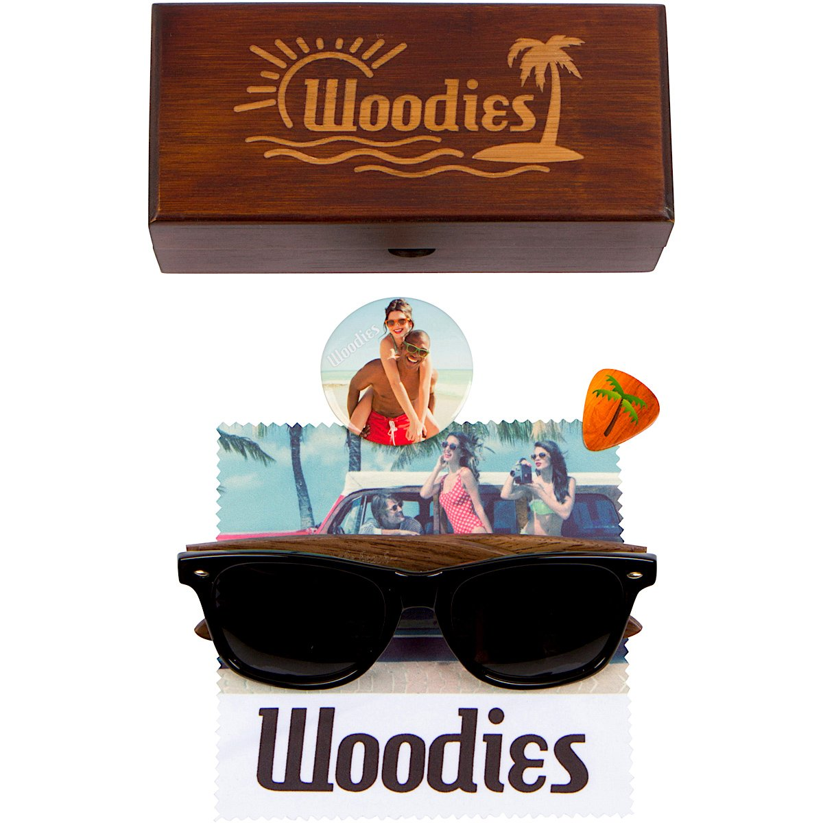 WOODIES Walnut Wood Wayfarer Sunglasses with Polarized Lens in Wood Display Box for Men or Women by Woodies (Image #6)