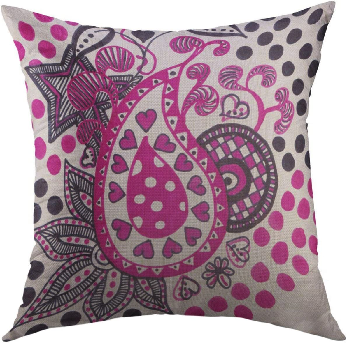 Mugod Throw Pillow Cover Purple Pink